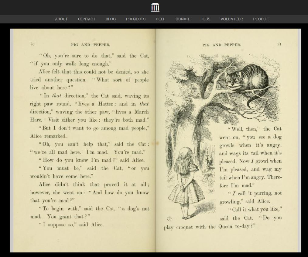 Page with text, Alice and Cheshire cat